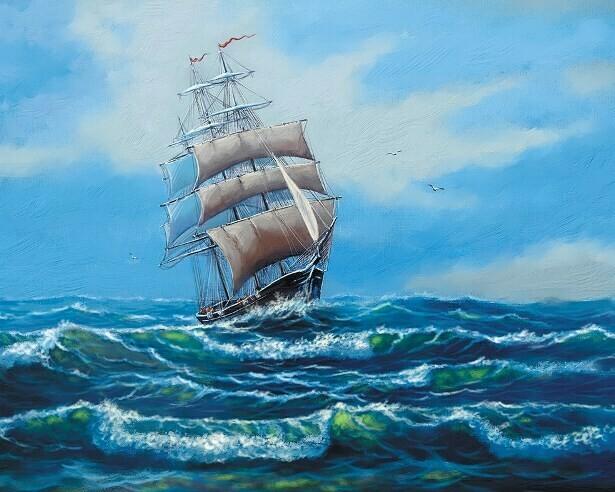 Картина по номерам (40х50см) Цветной MG2410  Корабль с белыми парусами