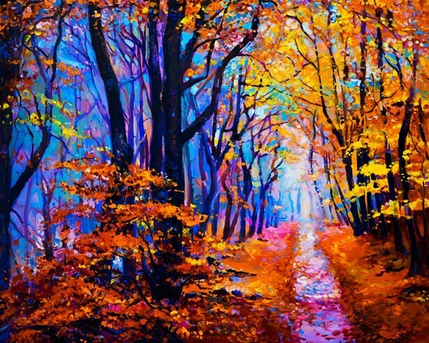 Картина по номерам (40х50см) Цветной MG2414 Осенняя лесная тропа