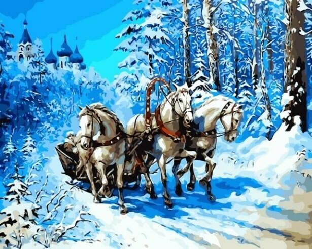 Картина по номерам (40х50см) Цветной MG6221 Тройка лошадей