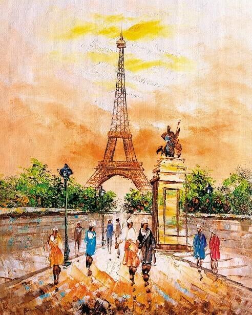 Картина по номерам (40х50см) Цветной MG2405 Прогулка по теплому Парижу