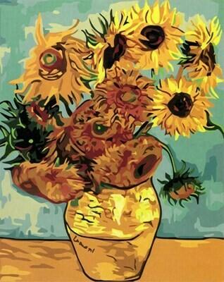 Картина по номерам (40х50см) Цветной MG098 Ваза с двенадцатью подсолнухами. Ван Гог.