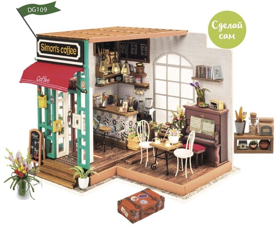 Сборная модель Robotime Rolife DG109 румбокс Любимая кофейня