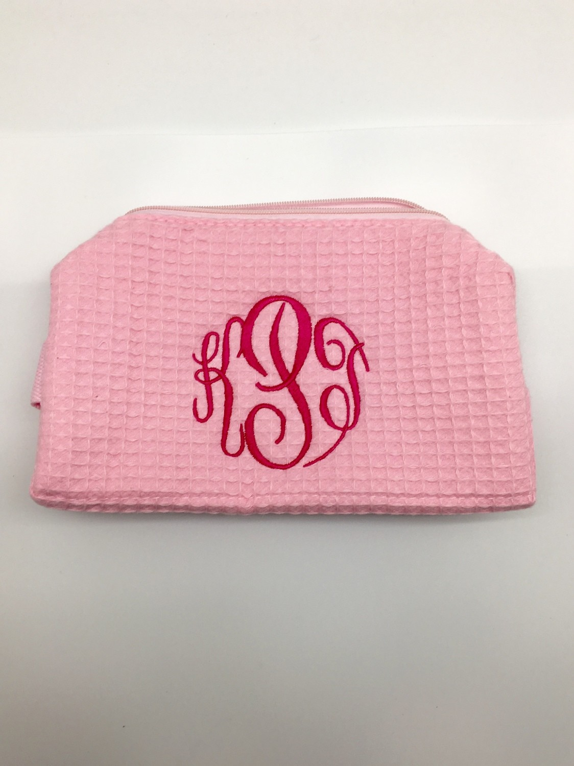 Light Pink Small Waffle Weave Cosmetic Bag