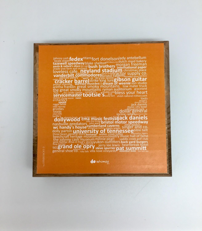 Tennessee Orange Wood Block