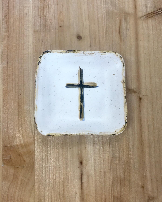 White Cross Small Square Dish
