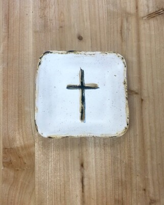 White Cross Small Square Dish