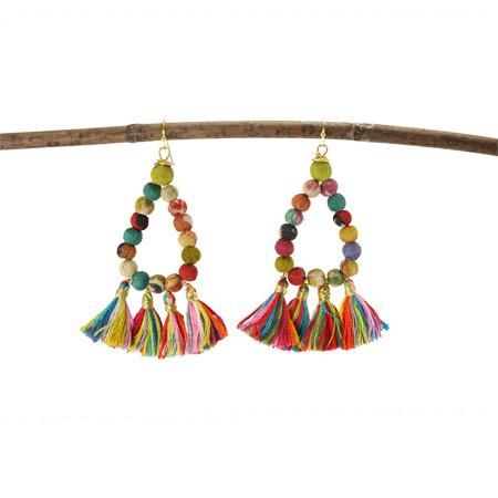 Kantha Teardrop Fringe Earrings
