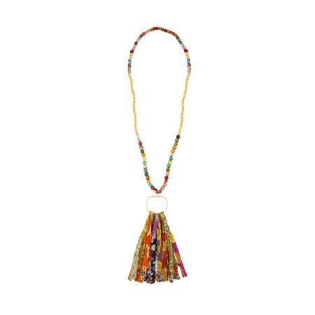 Kantha and Gold Fringe Necklace