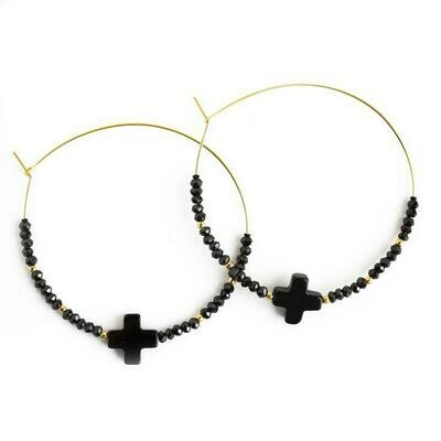 Black Cross Hoop Earring
