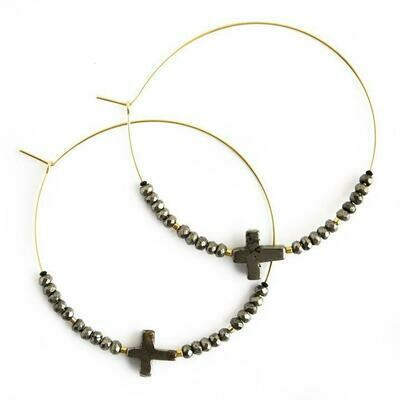Grey Cross Hoop Earring
