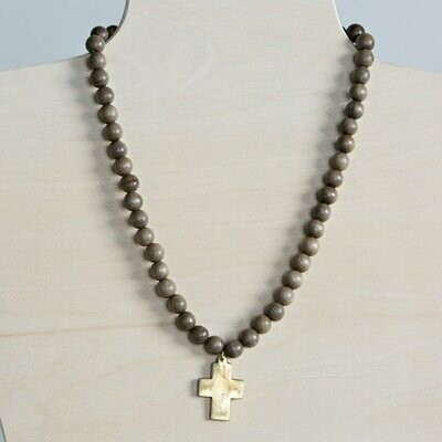 Grey Cross Pendant Wood Necklace
