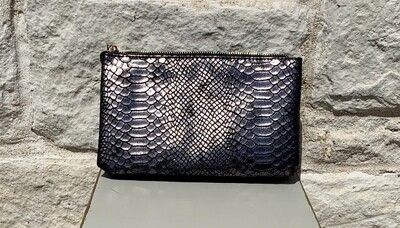 Black Snakeskin Pewter Jackie Purse