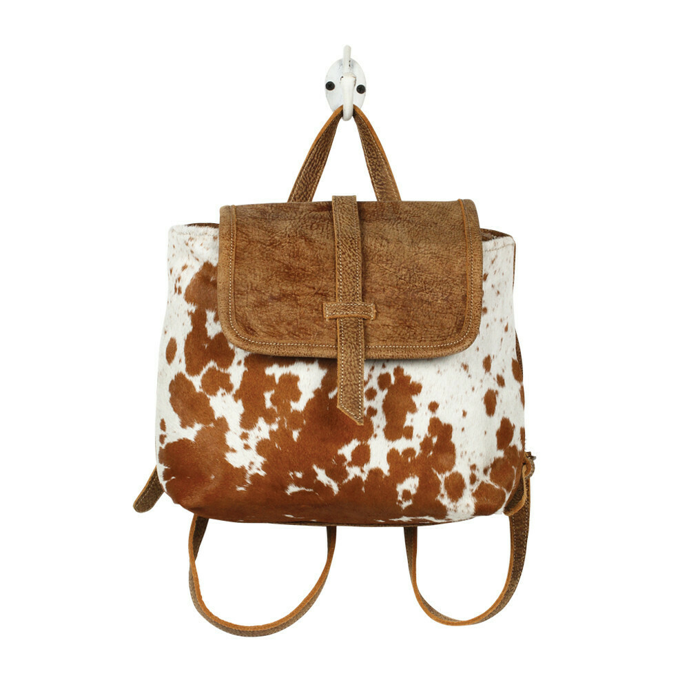 Leather Flap Hairon Backpack