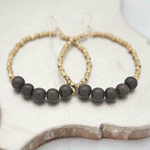 Black Golden Row Earrings