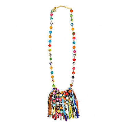 Fabric Wrapped Tassel Necklace