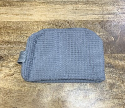 Gray Large Waffle Weave Cosmetic Bag