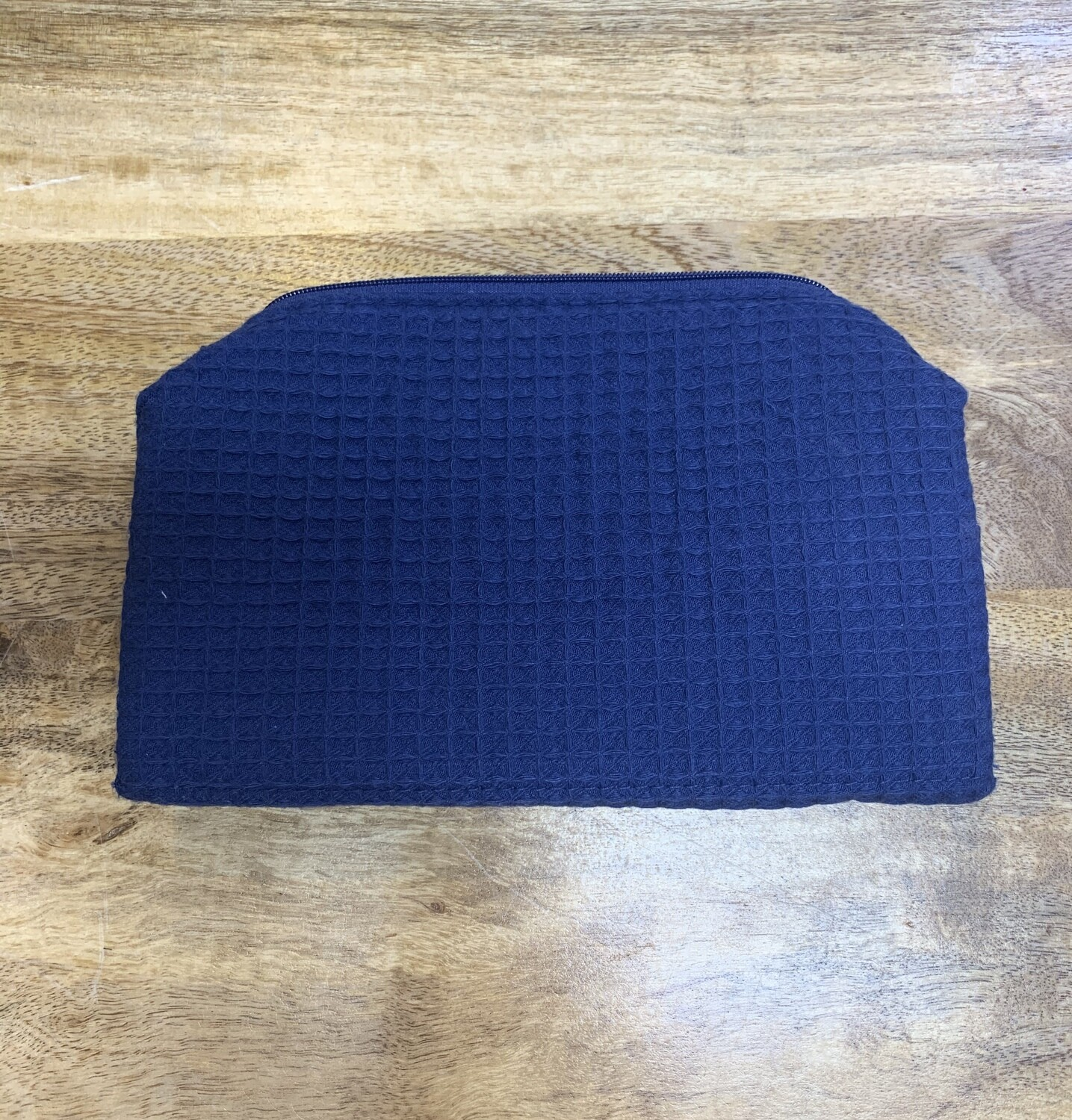 Navy Small Waffle Weave Cosmetic Bag