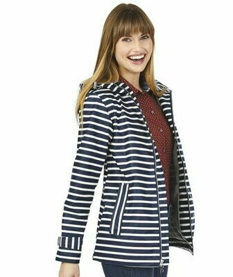 Navy and White Stripe Women's New Englander Rain Jacket