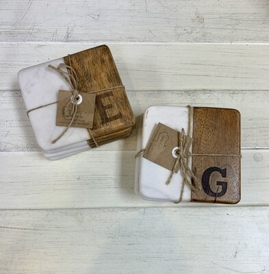 Square Marble & Wood Initial Coaster Set
