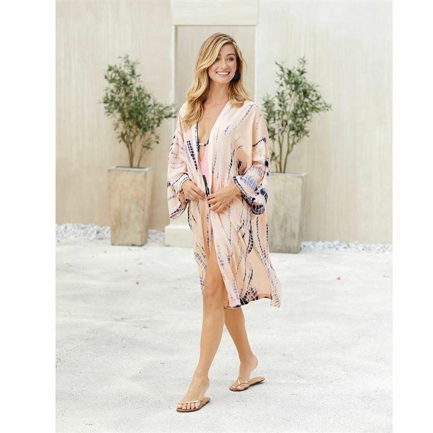 Athena Tye Dye Kimono-Pink