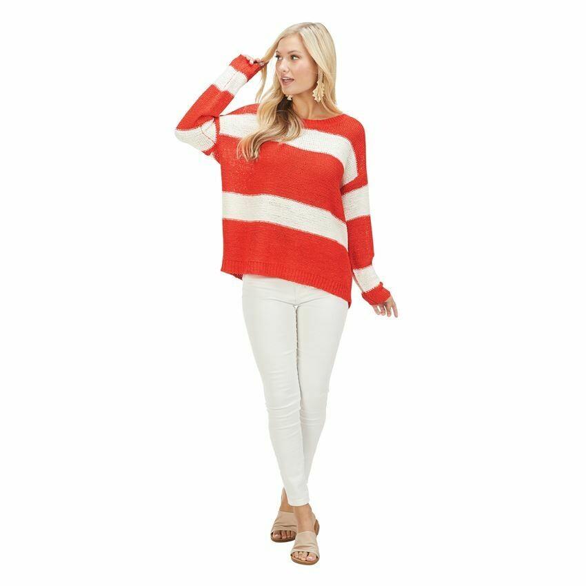 Tommy Stripe Pullover-Poppy Red