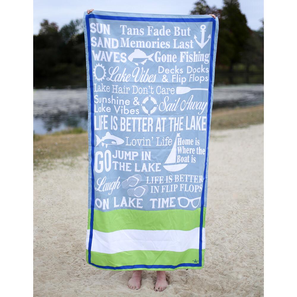 Microfiber Lanier Tradewinds/Lime Towel