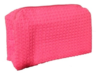 Hot Pink Small Waffle Weave Cosmetic Bag
