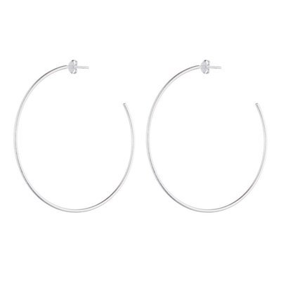 Brushed Silver Jillian Hoop Earrings