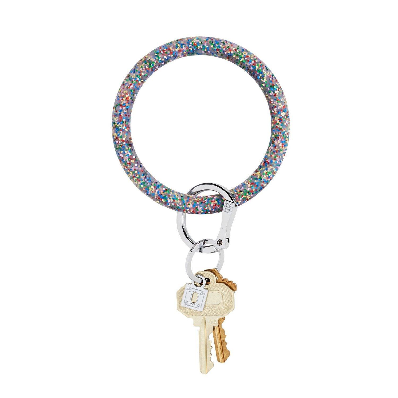 Rainbow Confetti Silicone Key Ring