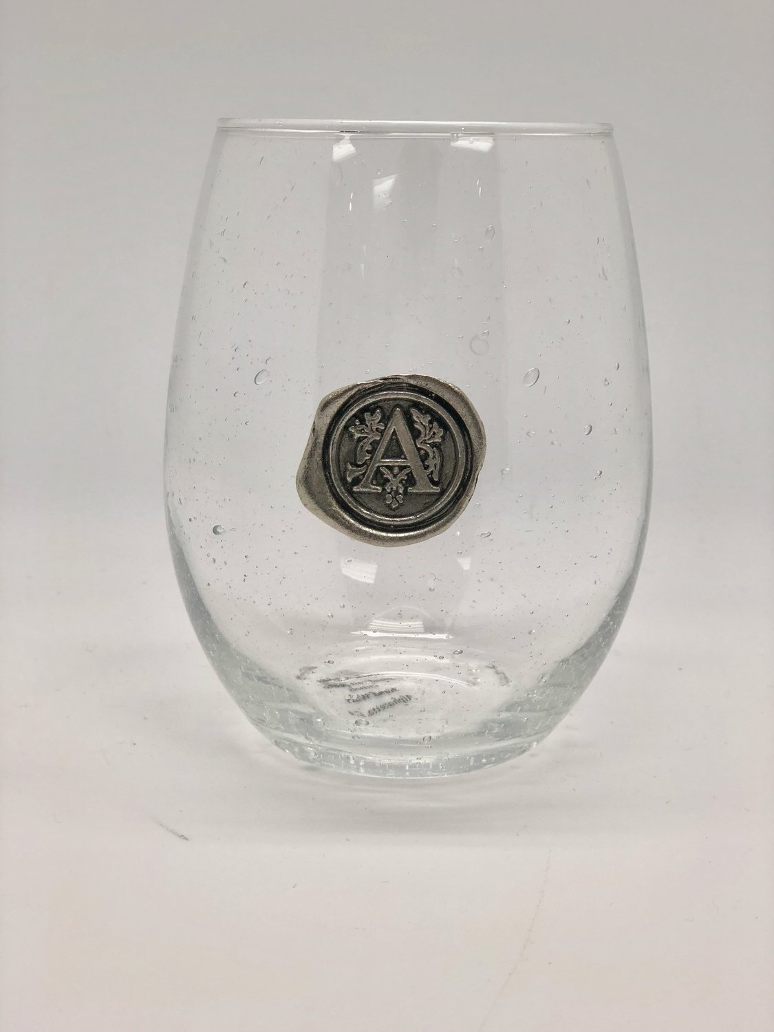 Initial Stemless Wine Glass