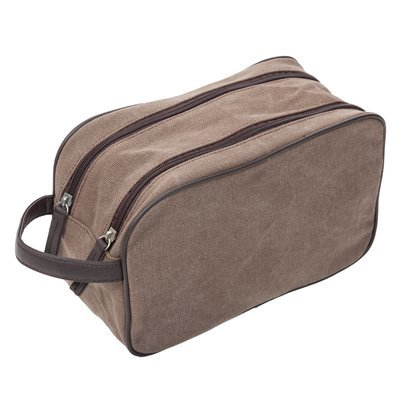 Brown Washed Canvas Dopp Kit