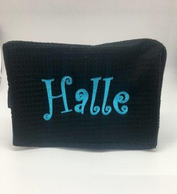 Black Large Waffle Weave Cosmetic Bag