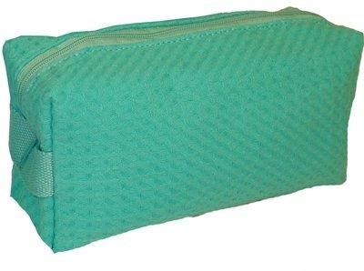 Caribbean Green Large Waffle Weave Cosmetic Bag