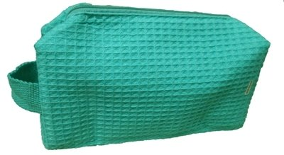 Caribbean Green Small Waffle Weave Cosmectic Bag