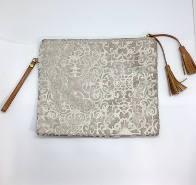 Silver Overlay on Champagne Wristlet