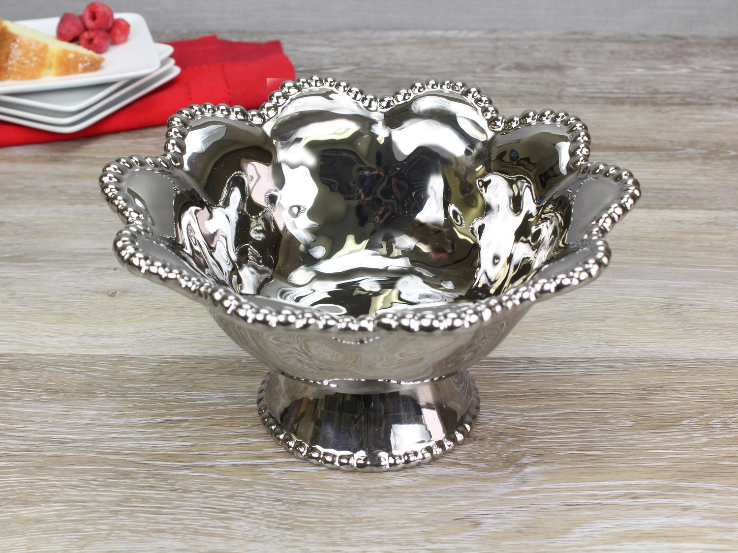 Porcelain Footed Bowl-Silver