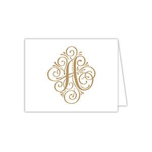 Elegant Gold Initial Notecard