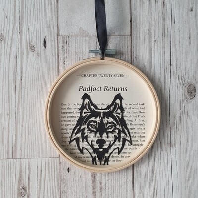 Harry Potter Padfoot Returns book art made from original book pages from The Goblet of Fire - Sirius Black Wolf