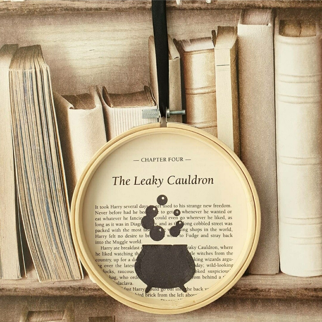 Harry Potter Leaky Cauldron made from original book pages Halloween