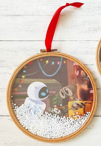 Christmas Hoops - Snow Shaker book art made from original book pages