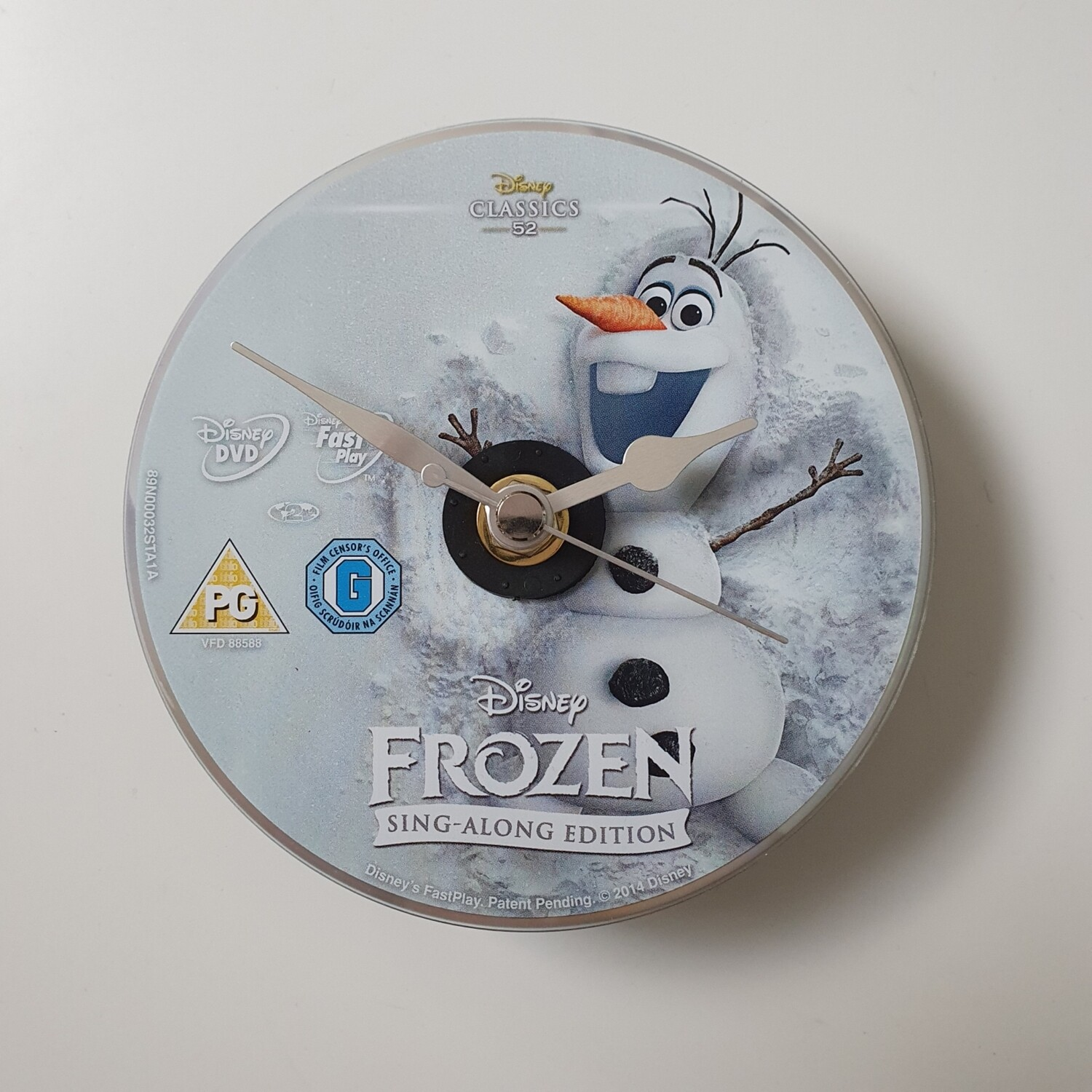 Frozen Olaf Clock - made from a recycled DVD