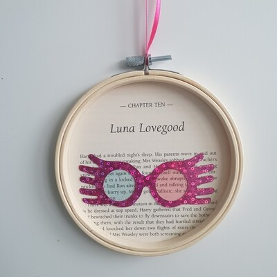 Harry Potter Luna Lovegood book art made from original book pages from The Order of the Phoenix
