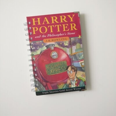 Harry Potter and the Philosopher's Stone Notebook made from a paperback book