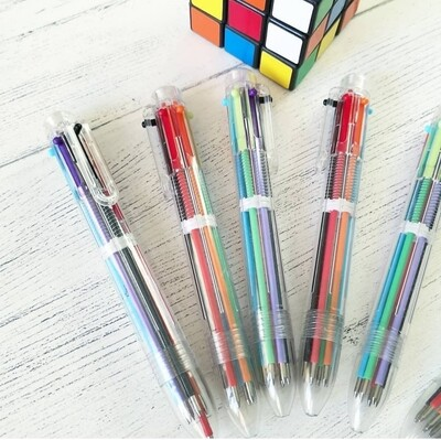 Retro 6 colour ink pens