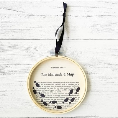 Harry Potter Marauders Map book art made from original book pages of The Prisoner of Azkaban