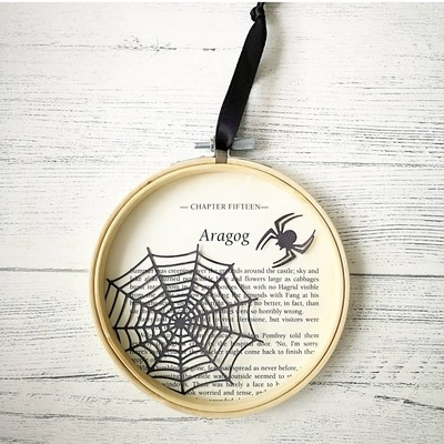 Harry Potter Aragog book art made from original book pages from The Chamber of Secrets