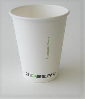 8oz Bioserv Single Wall White Hot Cup 1,000 per case