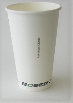 16oz Bioserv Single Wall White Hot Cup 1,000 per case