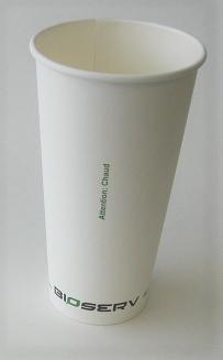 20oz Bioserv Single Wall White Hot Cup 1,000 per case