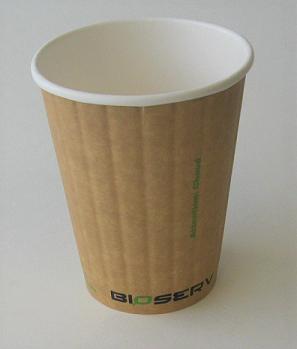 12oz Bioserv Ripple Double Wall Kraft Hot Cup 1,000 per case